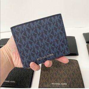 💯🆕MK men wallet/PVC LEATHER/blue-black color🆕